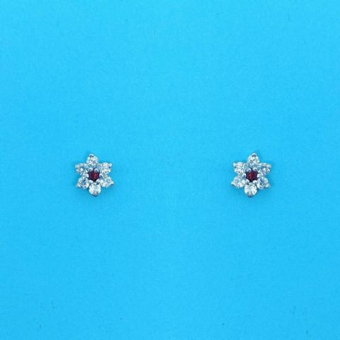 Genuine 9 Carat Gold Stud Earrings With White And Red Cubic Zirconia Stones